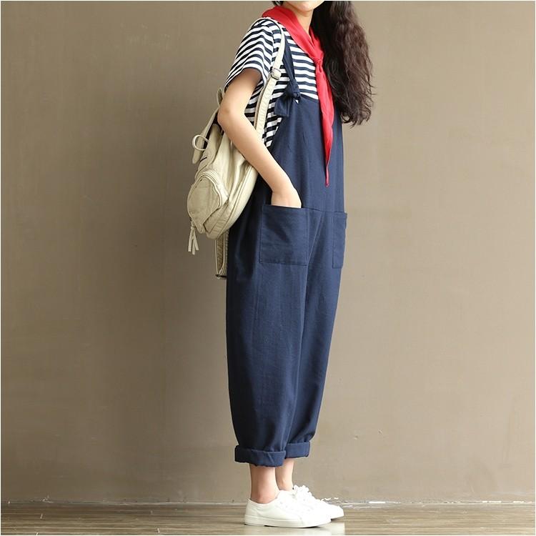 更新G5 22 文藝森林系棉麻深藍色可愛寬鬆舒服吊帶褲孕婦可M 3XL