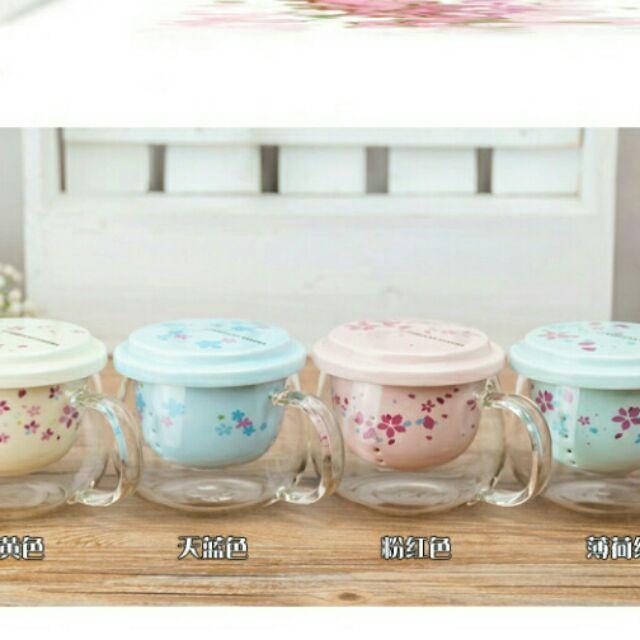 星巴克櫻花過濾泡茶杯陶瓷杯花茶杯透明玻璃杯大肚杯下午茶杯不是馬克杯咖啡杯