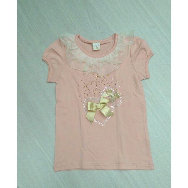 嗨寶貝  女童蝴蝶結愛心蕾絲水鑽短袖上衣