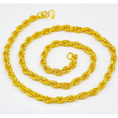 越南沙金項鏈男仿真鍍金鏈子粗霸氣潮圓珠鏈久不掉色 飾品