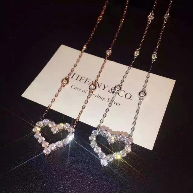 S925 純銀項鍊 版本蒂芬妮Tiffany 同款16 顆愛心鑲鑽玫瑰金短項鍊聖誕節情人節