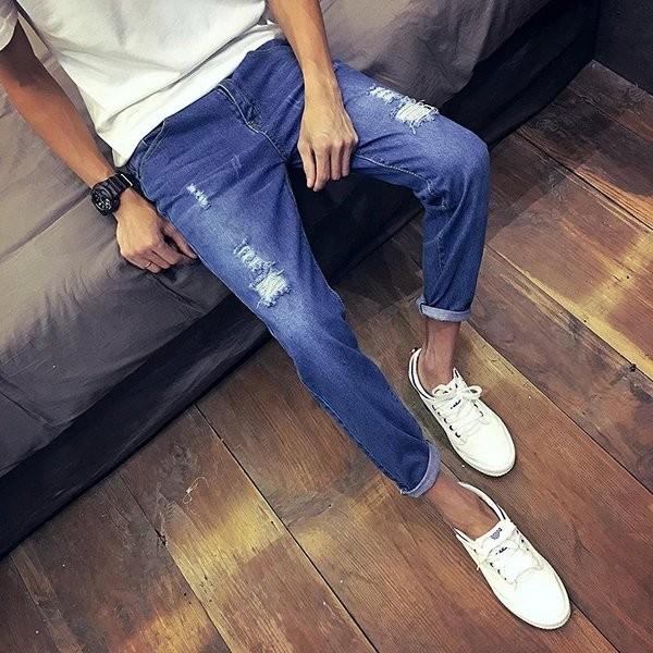 057 5 藍色1010 款哈倫街頭破洞牛仔褲男士複古修身潮流小腳直筒褲補丁磨破長褲破褲磨