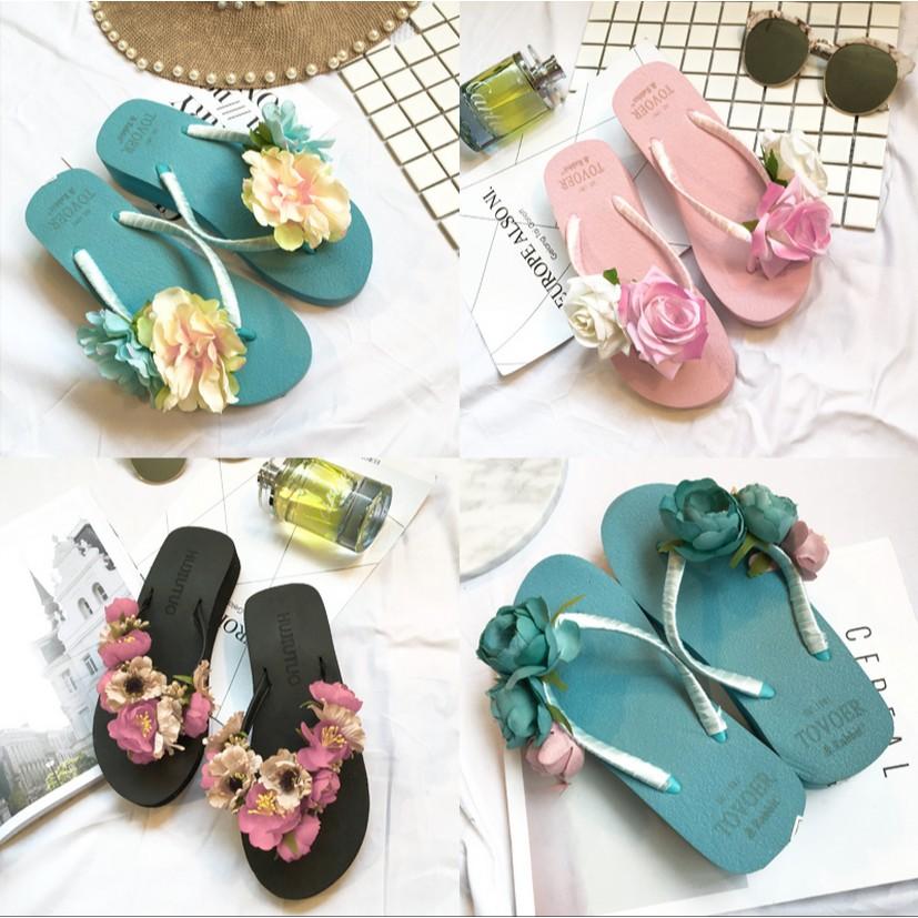 拖鞋女夏 女士防滑布藝花朵鬆糕厚底沙灘鞋坡跟涼拖鞋