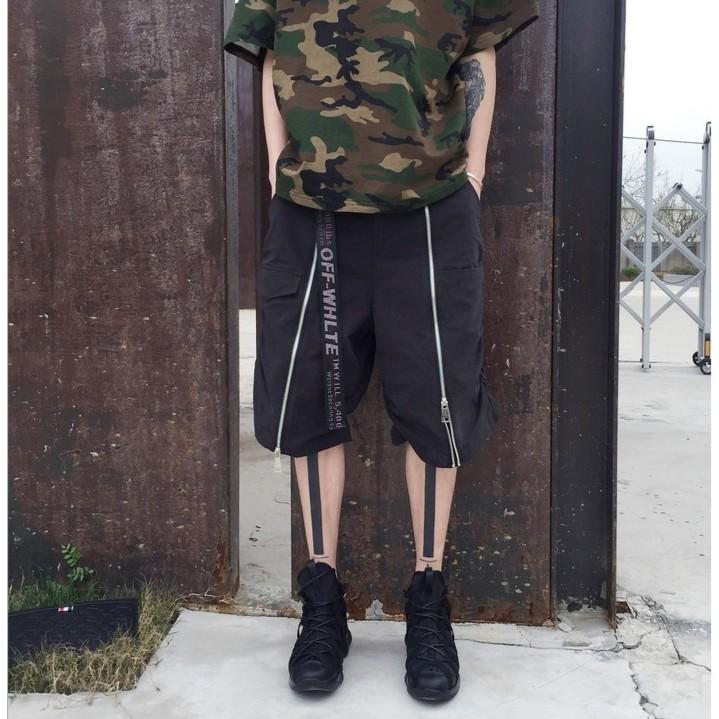 ~freey ~暗黑系大拉鏈 裝飾寬松 直筒五分褲 潮流男士短褲