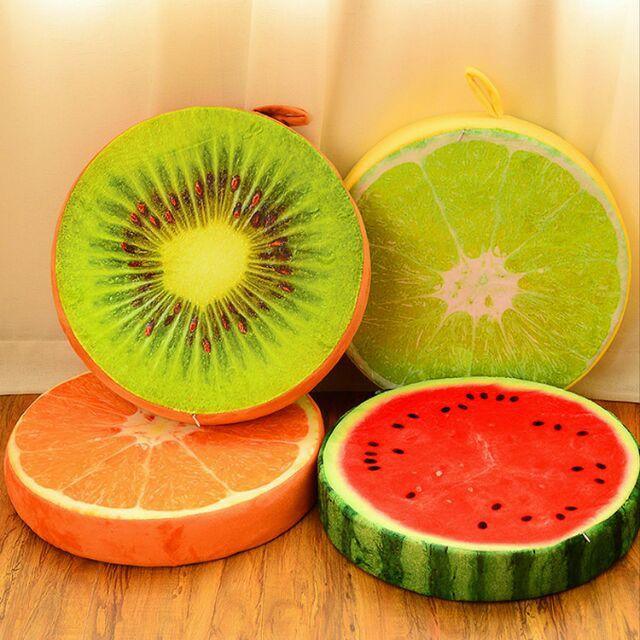 ,水果坐墊椅子坐墊可拆洗椅墊四季水果沙發墊午安墊