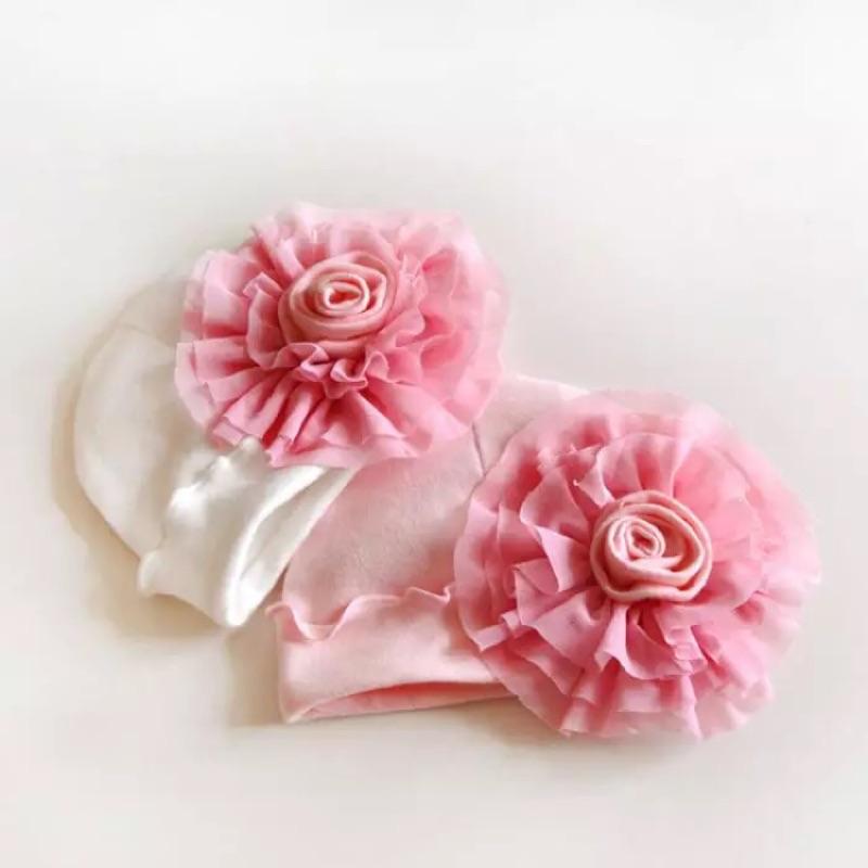 甜美大花朵純棉寶寶帽