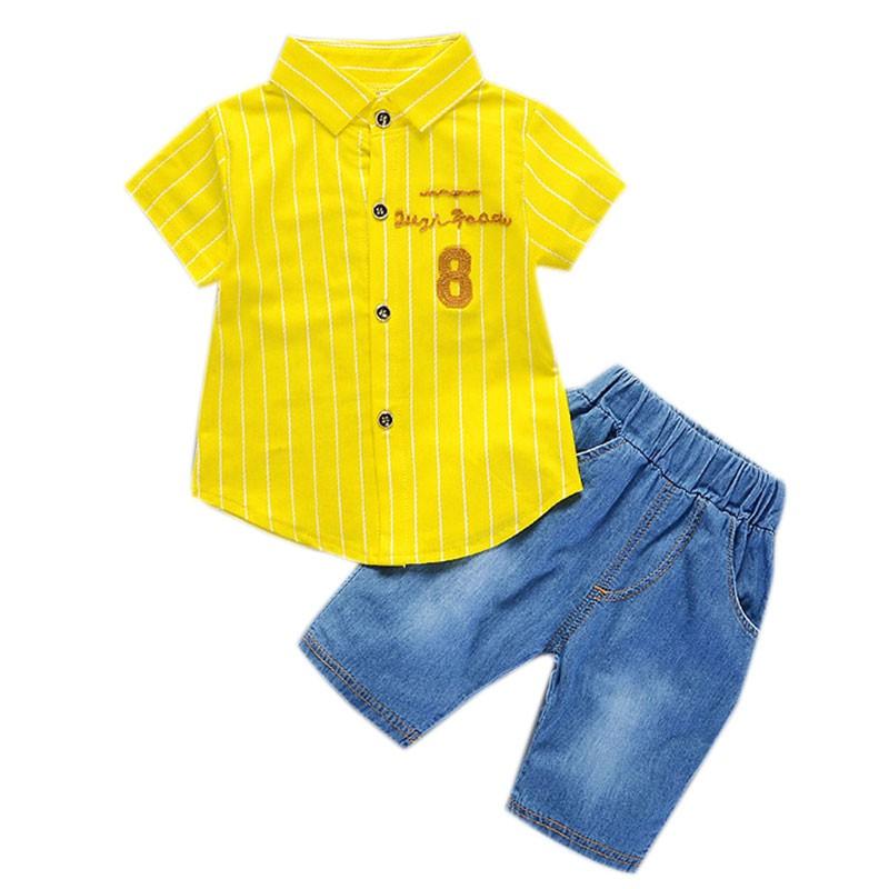 ❤❤  ❤ 男童短袖純棉條紋襯衣童套裝0 4 歲寶寶
