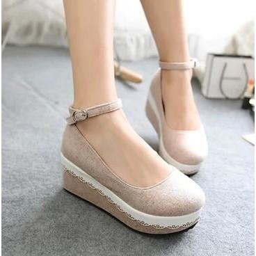 娃娃鞋 甜美花邊蛋糕厚底坡跟單鞋森系可愛圓頭公主鬆糕女鞋娃娃鞋~台北韓風館~