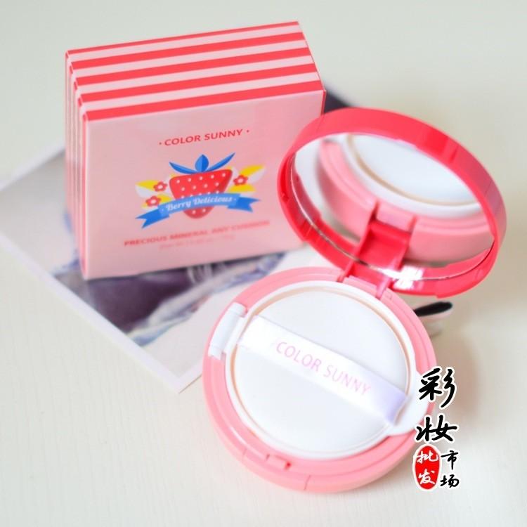 color sunny 草莓珍珠氣墊BB 霜粉底遮瑕美白輕薄持久