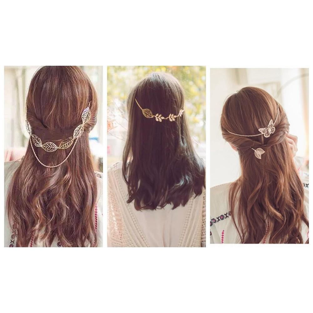 sofi shop 韓國3 款波西米亞金屬鍊條合金樹葉髮飾髮帶髮夾滿1000 折100 F