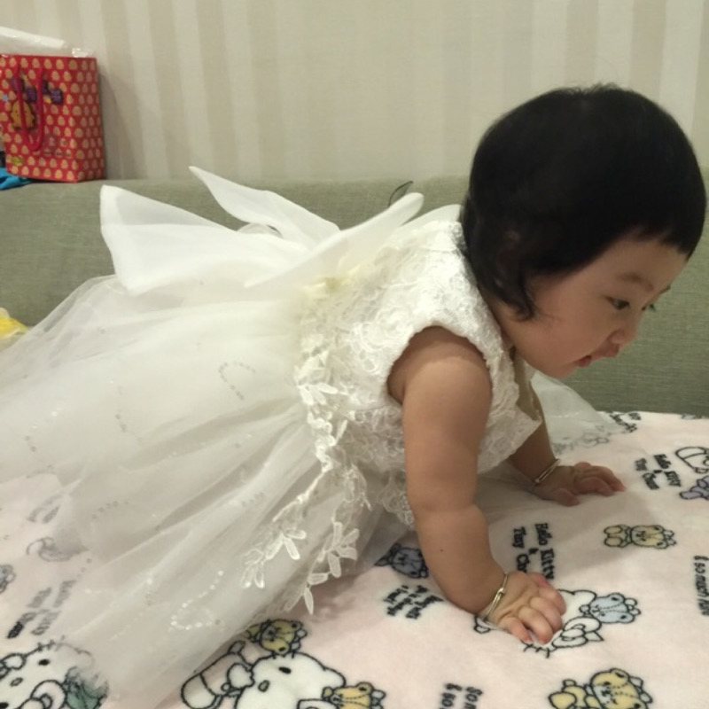 曈曈Baby  兒童童裙表演服女童金色蕾絲貼花紗質連衣裙公主背心裙