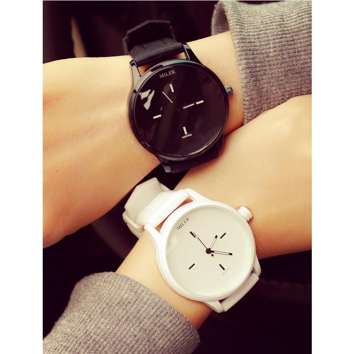 原宿風女錶潮流 大錶盤簡約黑白韓國情侶 潮男中學生手錶