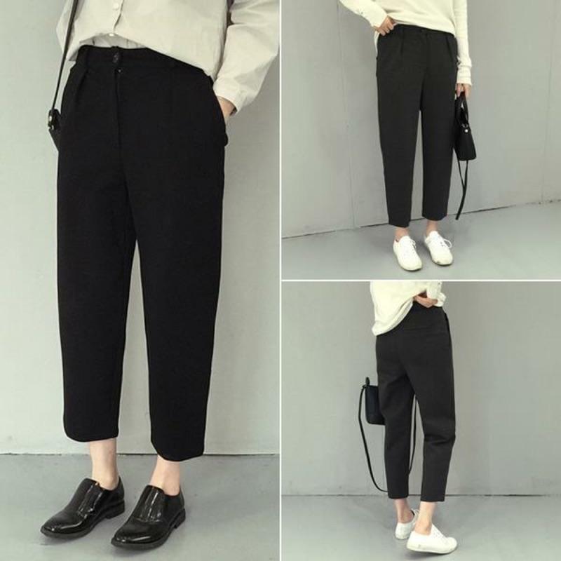 寬鬆顯瘦休閒直筒褲 純色簡約九分西裝褲