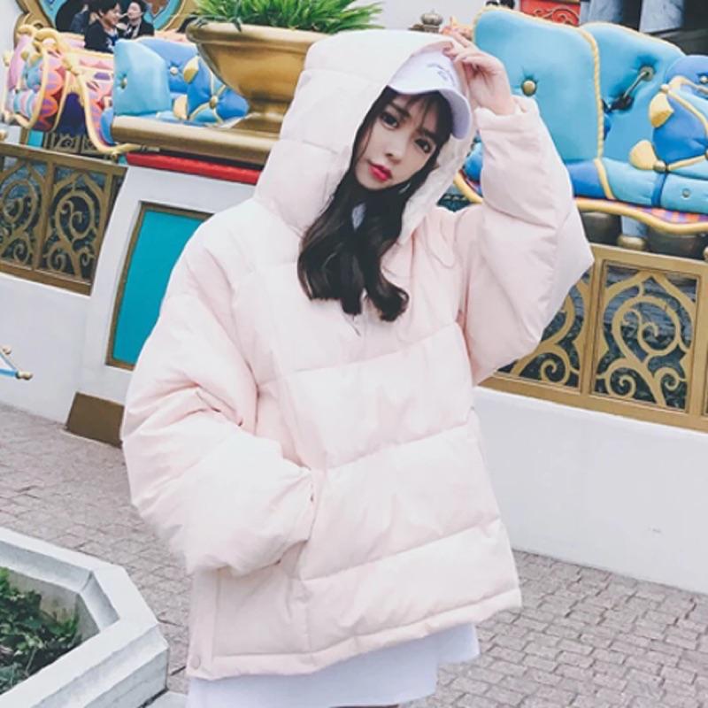 女裝 寬鬆休閒麪包服保暖連帽棉衣韓國棉服外套學生厚棉襖
