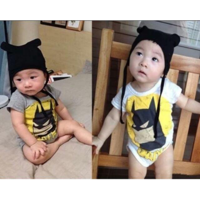 ~34 ~蝙蝠俠小帽子連身包屁衣嬰幼兒用品衣著包屁衣連身衣寶寶幼兒衣服短袖夏天連身套裝韓系