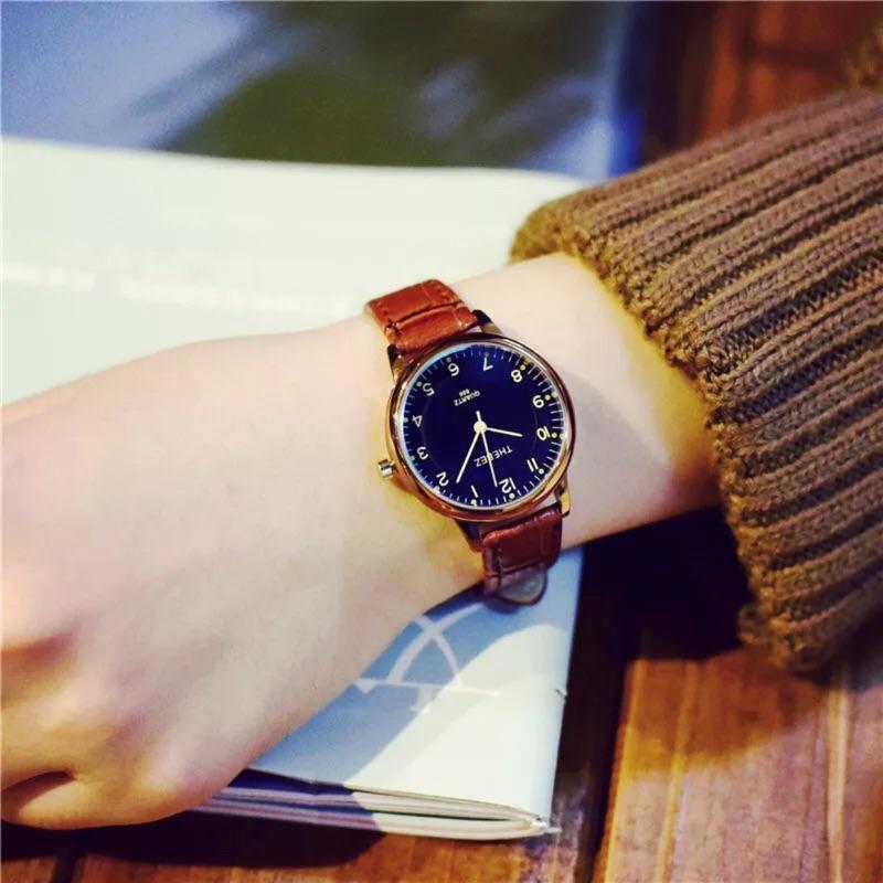 文藝女生學生考試準時手錶女皮帶簡約休閒女款學院風小清新復古潮