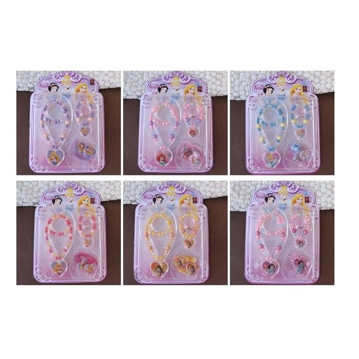 ~草莓花園~C20 正品 迪士尼公主兒童女童項鍊手鏈戒指髮繩四件套裝飾品頭飾首飾