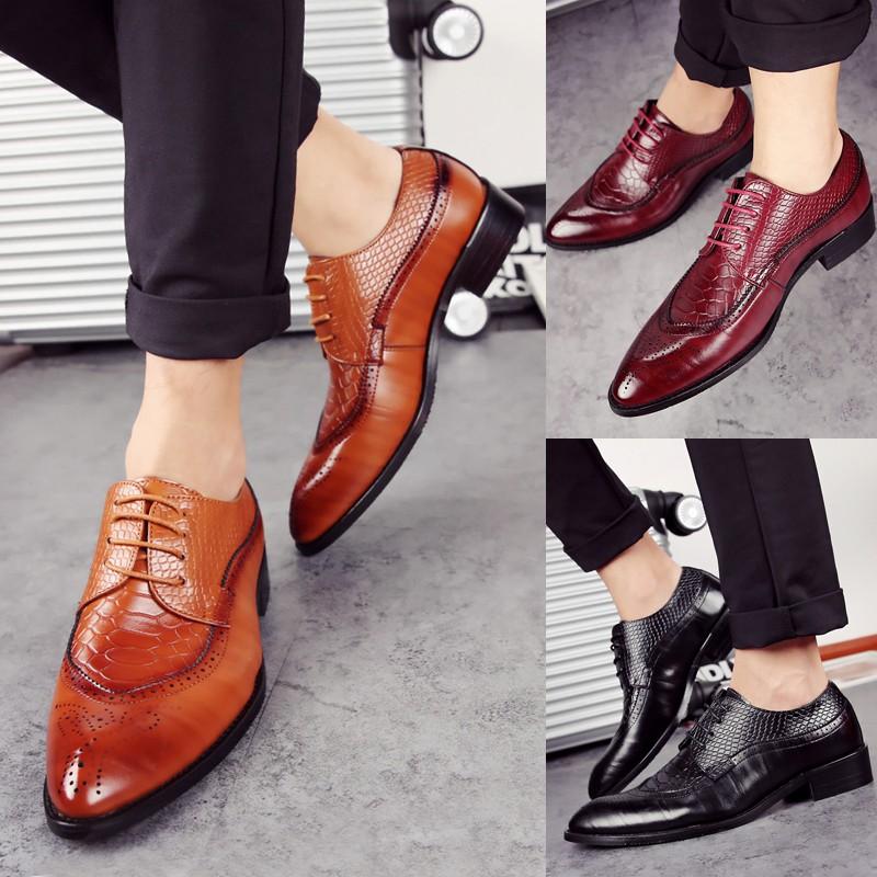 ~ ~布洛克男鞋商務正裝男士尖頭休閒皮鞋英倫潮流系帶單鞋皮鞋