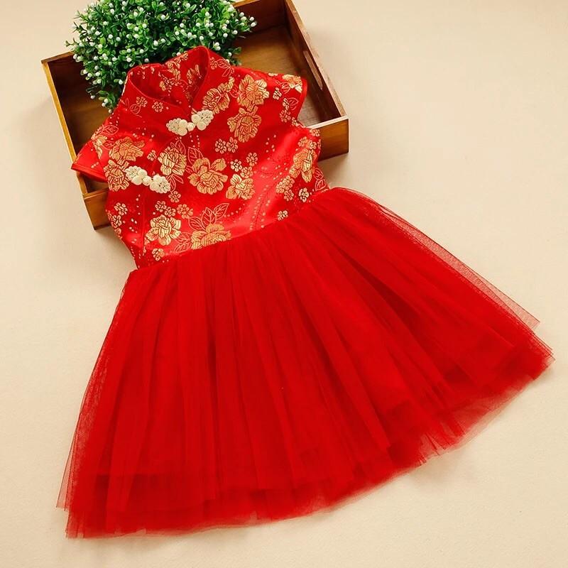 兒童旗袍女童唐裝女孩連衣裙公主裙子幼兒紅色小孩女孩 演出服结婚小伴娘服