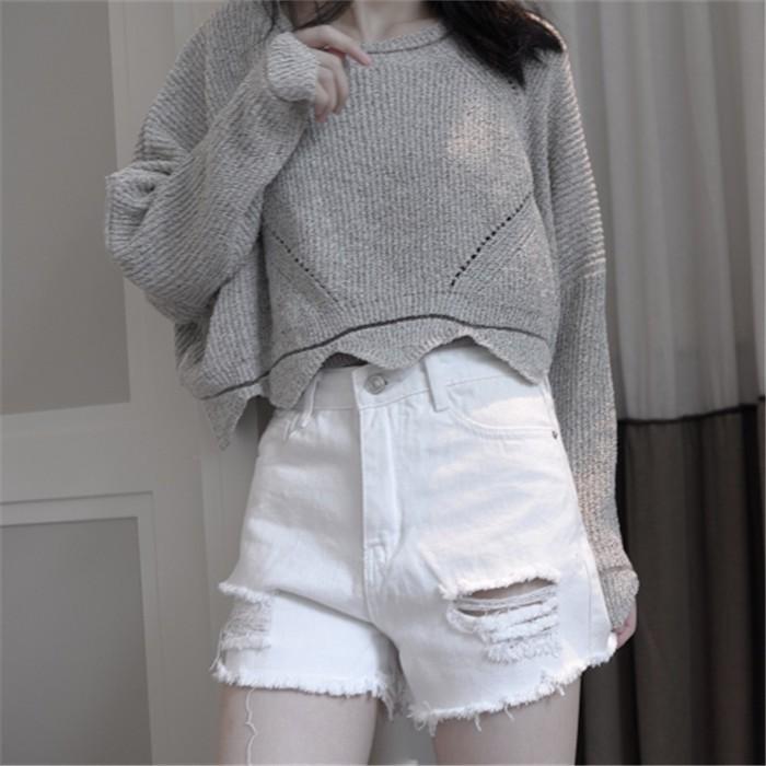 牛仔褲寬鬆女 學生bf 百搭短褲高腰破洞毛邊流蘇白色顯瘦熱褲