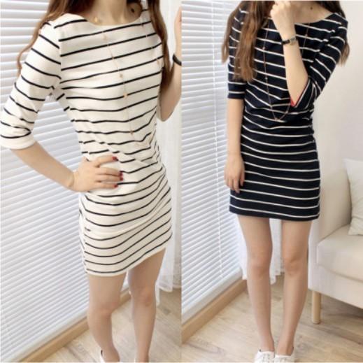 中長款7 分袖連身裙精梳棉條紋高 圓領條紋女裝簡約橫條紋好 寬鬆款修身顯瘦 中022