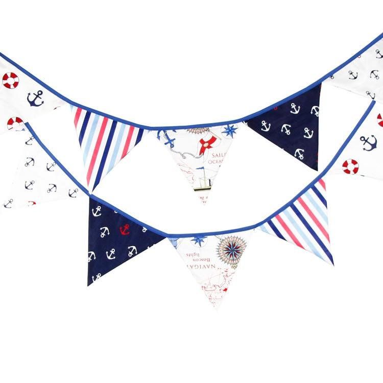 麻子小鋪新店開張沖 12 片地中海風棉布三角旗船錨海洋風嬰兒房佈置帳篷裝飾婚慶典禮生日派對