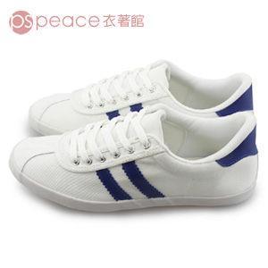 peace shop MIT 鞋側拼斜線條綁帶帆布鞋休閒鞋,白色,WX08
