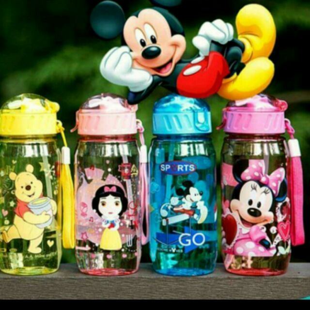 ,迪士尼攜帶型水壺400ml ,吸管水杯彈跳吸管水壺,米奇,米妮,維尼,公主