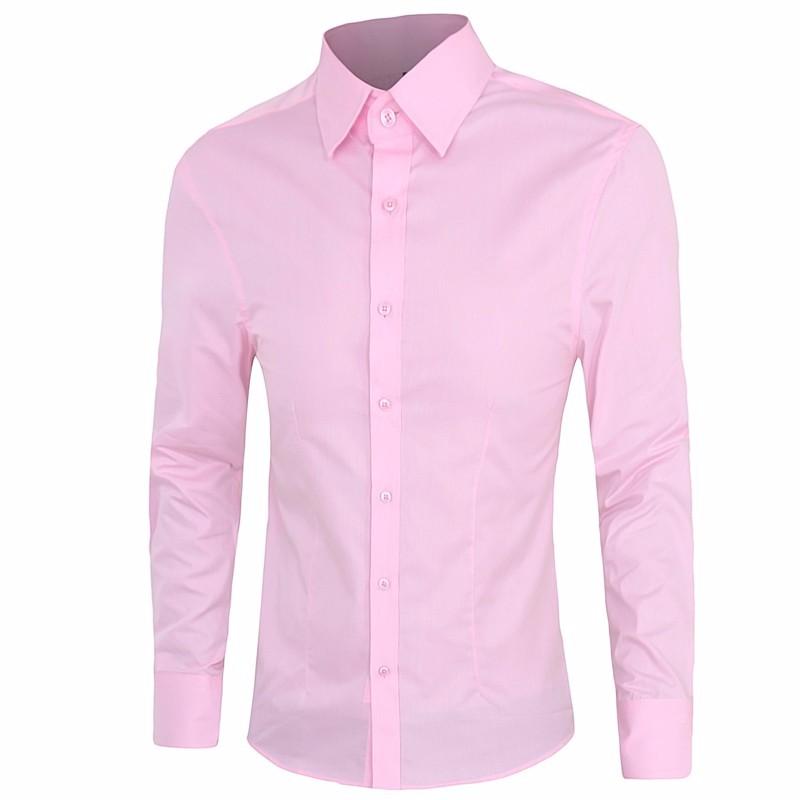 !男士長袖襯衫男士棉質休閒男士襯衫社會(粉色黑色白色)