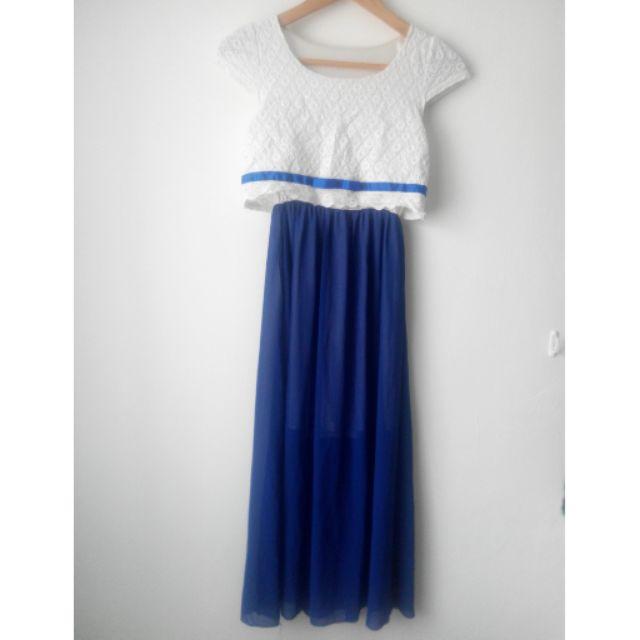 [ ]緞帶布蕾絲半袖拼接雪紡長裙長洋