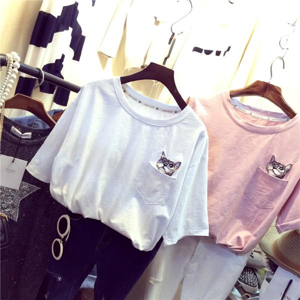 打底衫小清新短袖上衣刺繡小貓口袋T 恤女生舒適寬鬆百搭大學T 超萌棉質短袖T 恤