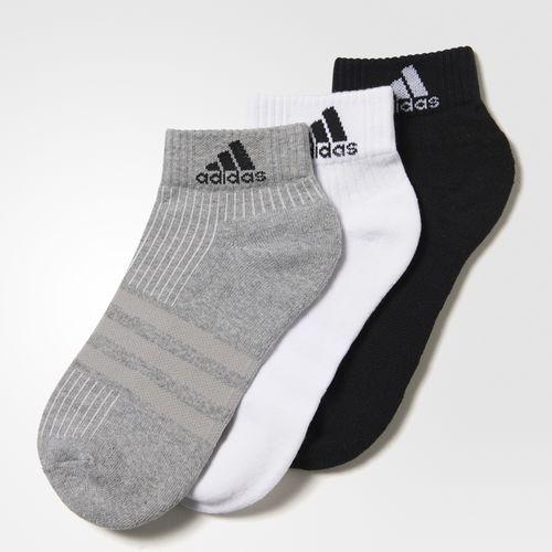 愛迪達ADIDAS TRAINING 3 STRIPES 棉質吸濕排汗 襪三入裝白黑灰短襪