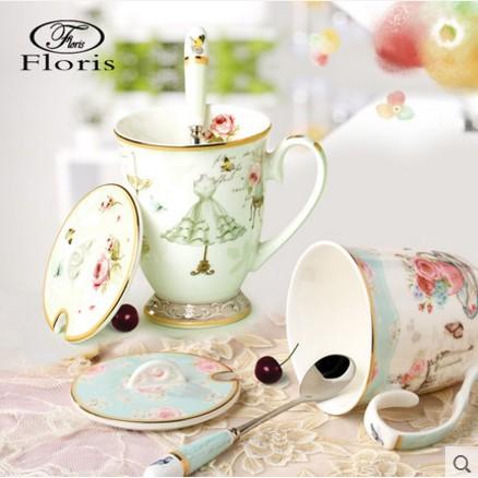 floris 彩繪馬克杯子 陶瓷蓋杯歐式田園咖啡杯骨瓷杯帶蓋勺