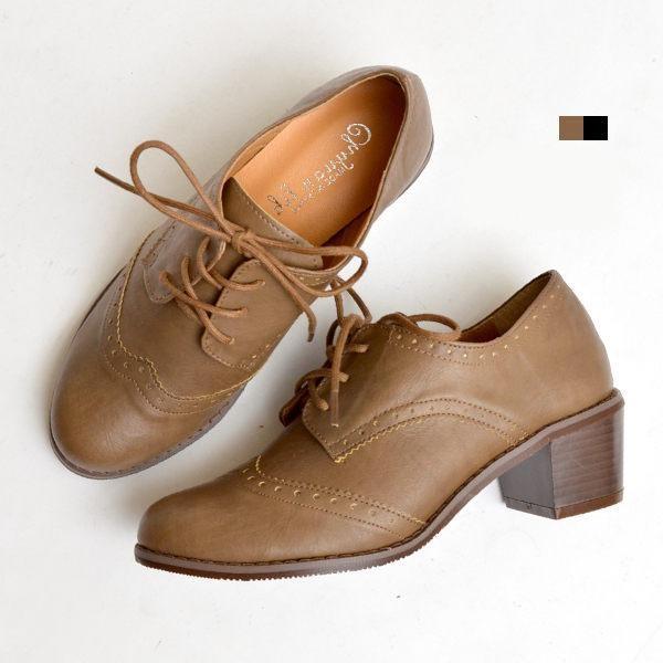 牛津鞋復古雕花綁帶粗跟鞋~03681 46 ~