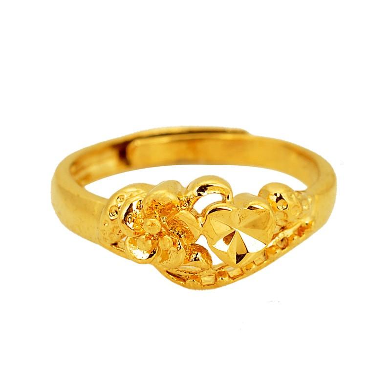 波麗唯美鍍24K 沙金防過敏精美花型開口戒指可調節結婚訂婚情人節母親節父親節生日送禮