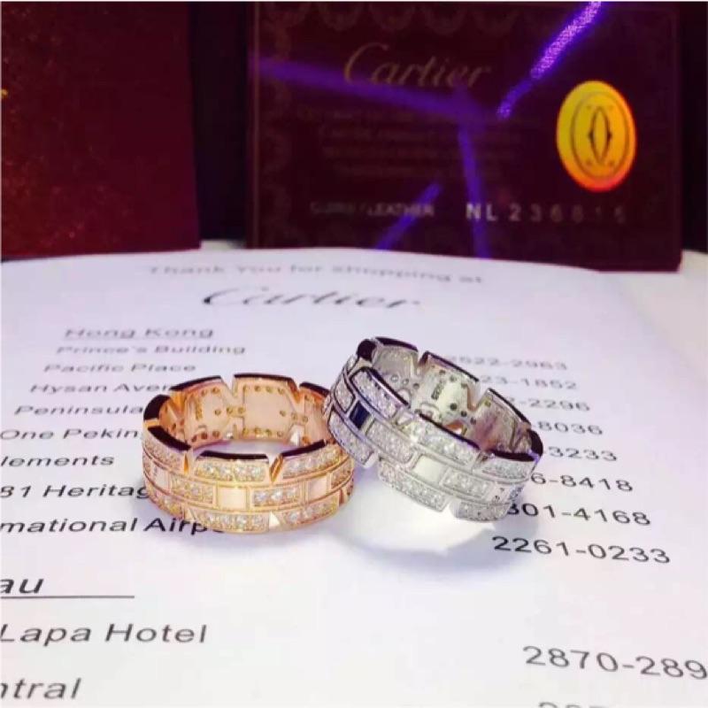925 純銀戒指Cartier 卡地亞同款坦克戒玫瑰金指環男女對戒情人節生日 V8045