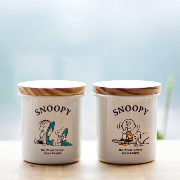 SNOOPY 史努比加厚琺瑯密封罐咖啡茶葉堅果乾果防潮儲物罐木蓋琺瑯蓋