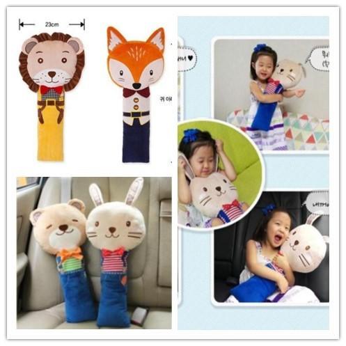 韓國可愛卡通汽車安全帶抱枕娃娃兒童汽車安全帶護肩睡覺抱枕