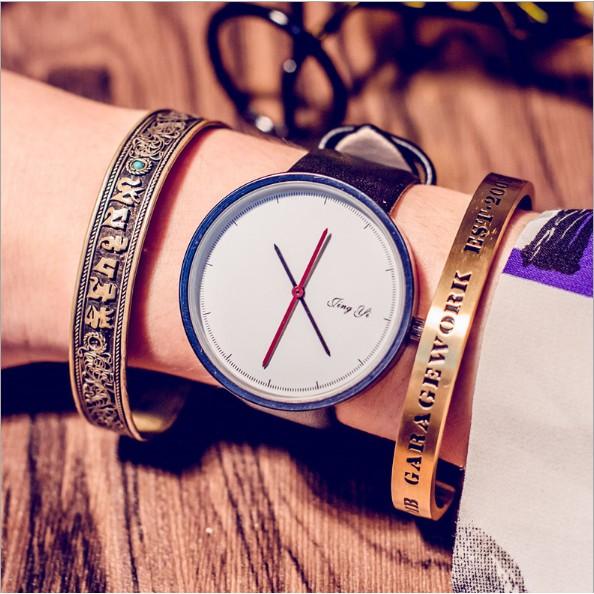 簡約 黑白石英表長指針手錶簡單情侶皮帶腕錶