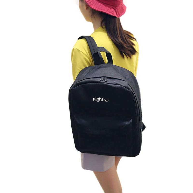 中性雙肩包電腦包可調節背帶帆布 night 月牙刺繡雙頭拉鏈大容量 簡約書包旅行包背包