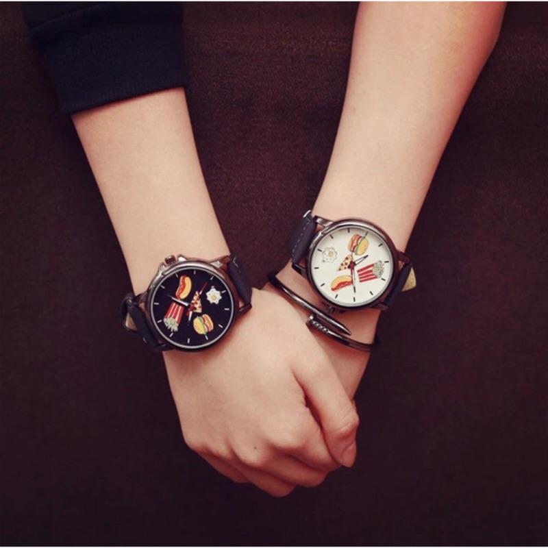 韓國情侶錶閨蜜錶對錶手錶藍光錶大錶原宿風韓國錶早餐漢堡塗鴉薯條俏皮可愛蛋黃哥