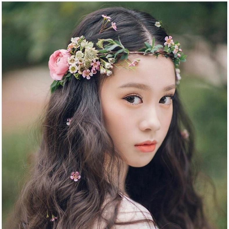 Cernmei 賞美新娘花環頭飾韓式森系發飾影樓兒童攝影拍照海邊飾品