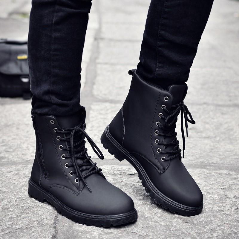 秋 男鞋子 潮流男士馬丁靴保暖男靴子工裝軍靴短靴高幫皮靴