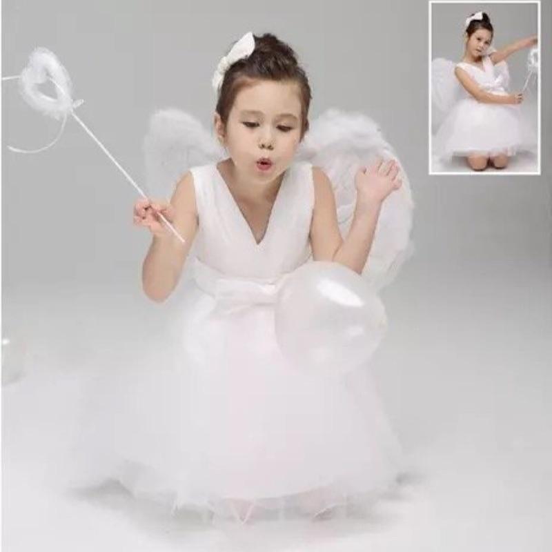萬聖節化妝舞會純潔小天使蓬蓬裙帶翅膀女童兒童表演服裝禮服親子款角色扮演
