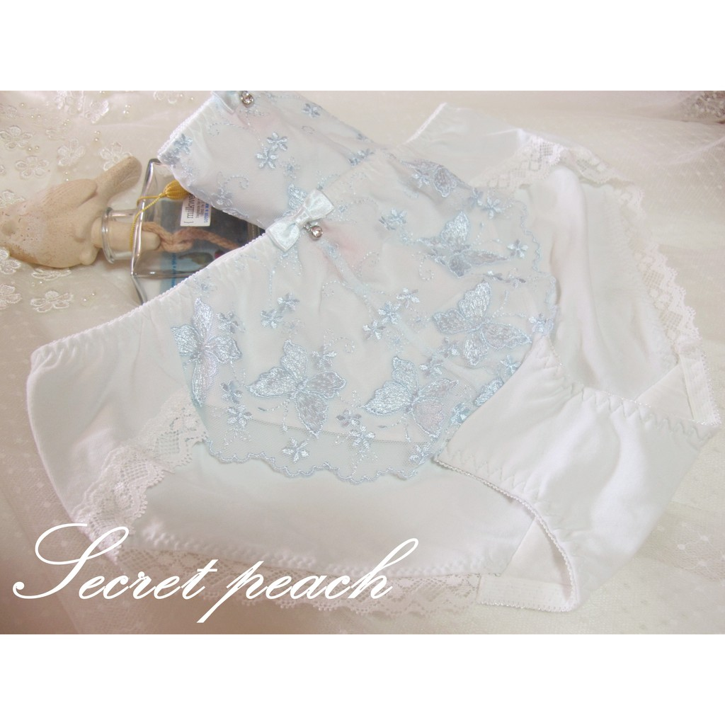 Secret peach 日系清新感淡藍色蝴蝶刺繡蕾絲蝴蝶結棉質內褲