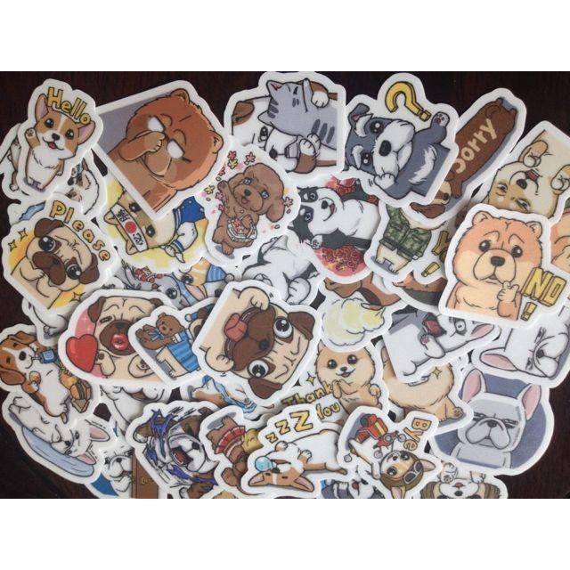 豆卡頻道貓貓狗狗自制手帳相冊裝飾防水貼紙40 張