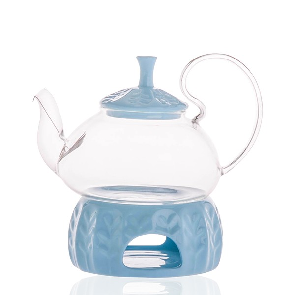 馬卡龍色耐熱玻璃花茶壺套組
