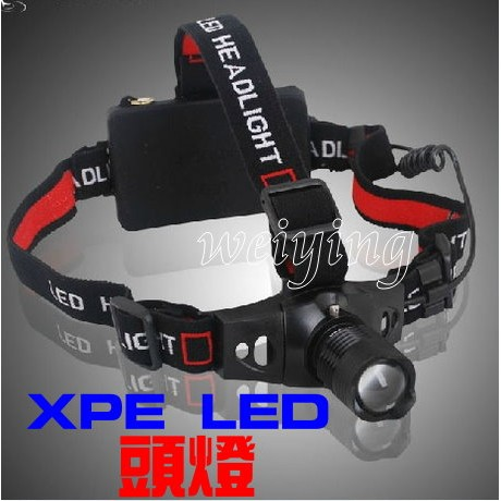 ~我最 ~LED 頭燈強光頭燈伸縮變焦三段模式手電筒 18650 電池工作登山非L2 T6