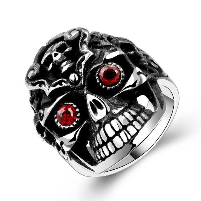 搞怪萬聖節 古瑪雅 朋克風骷髏頭鑲紅鋯石男士戒指