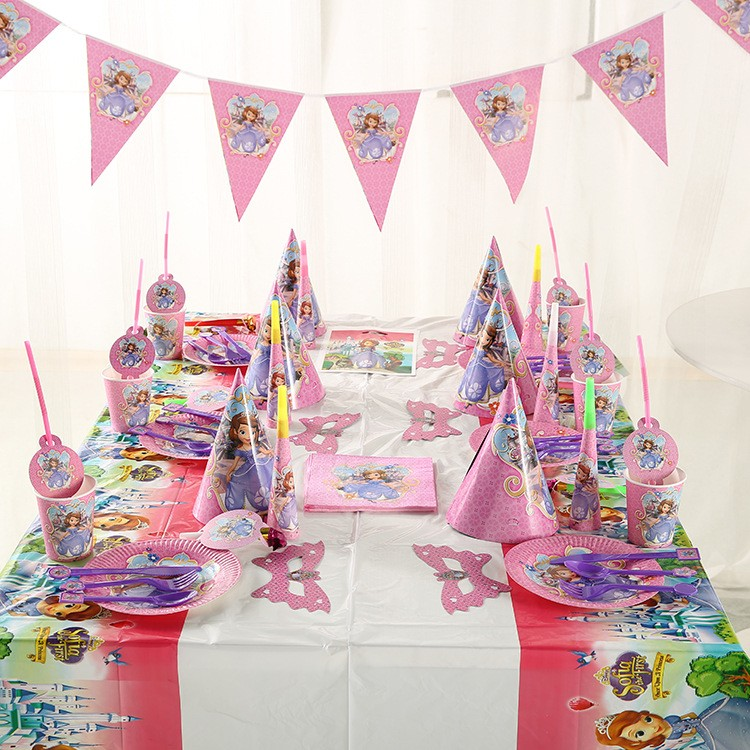 派對蘇菲亞公主豪華版16 件6 人套餐組生日派對生日佈置 氣球生日蠟燭讓Party 更完美